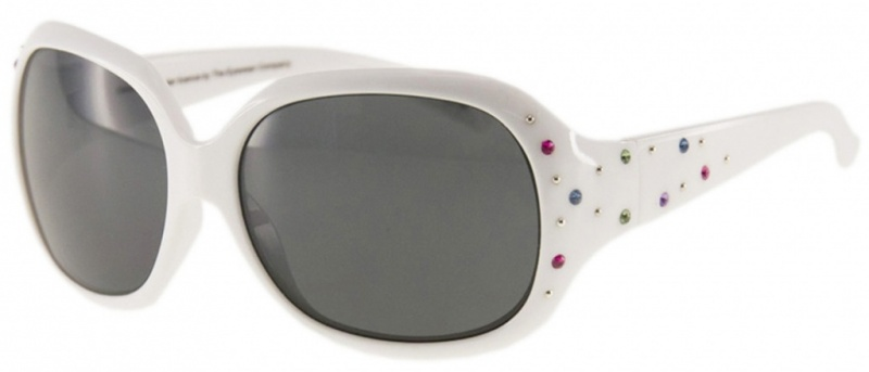 White with Sparkles/Grey Lenses
