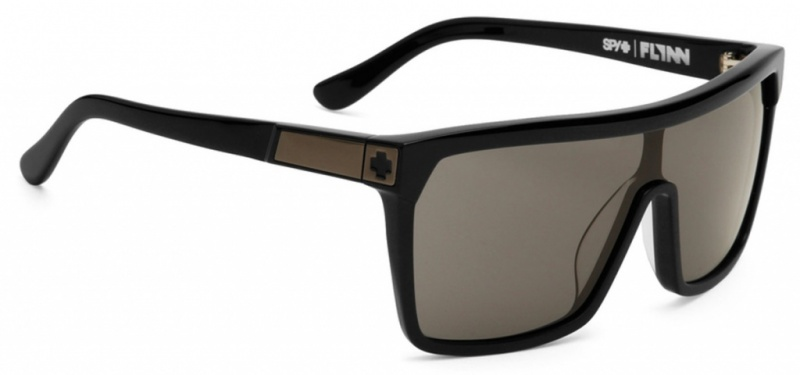 Spy Flynn Shiny Black and Matte Black Sunglasses with Grey Lenses