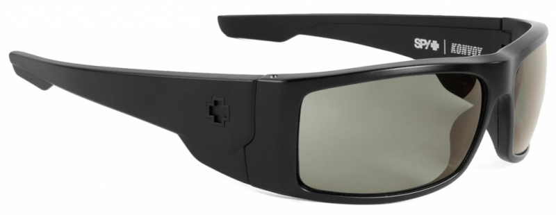 Spy Konvoy Sunglasses Matte Black, Happy Grey Green Polarised