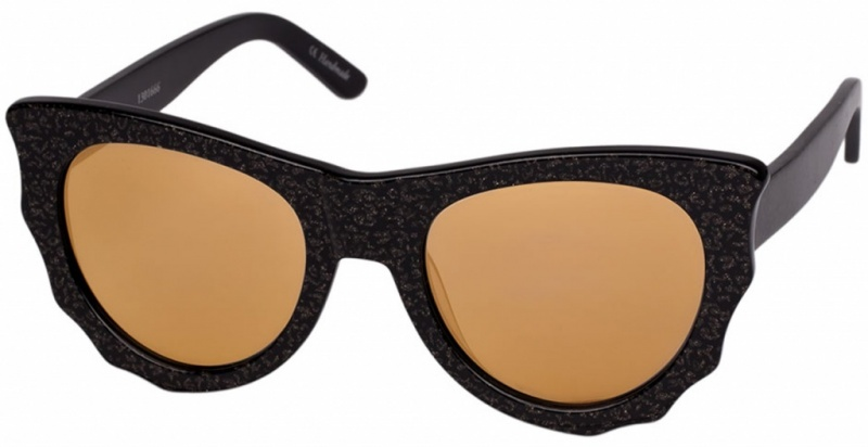 Ksubi Bat Cat Black and Gold with Smoke Mono Gold Flash Mirror Lenses