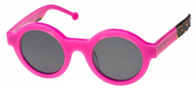 Preen Sunnies Big Ben Fuchsia Tort, Grey Lenses