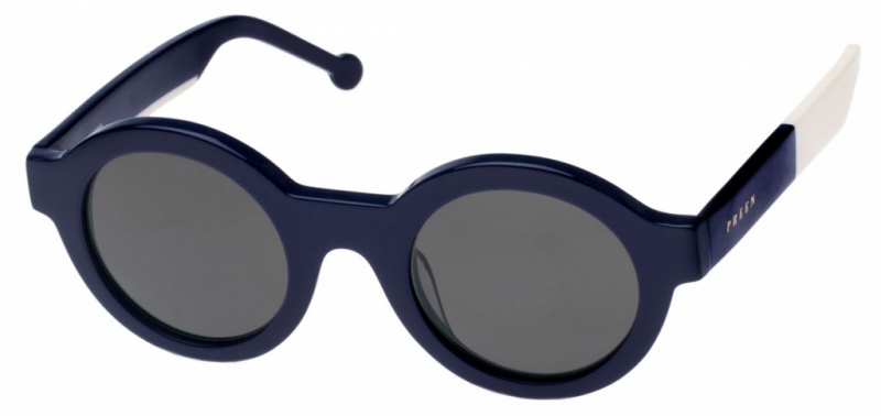 Preen Big Ben Sunglasses Navy Ivory Grey Lenses