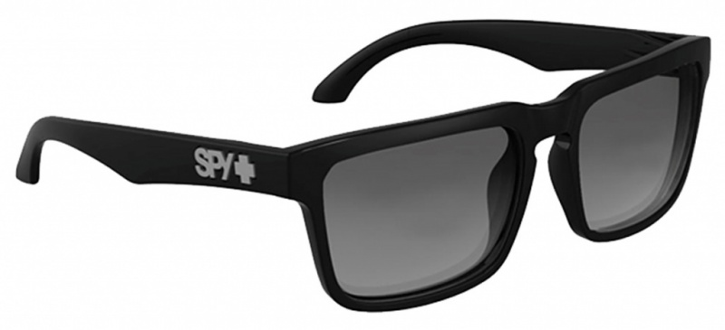 Spy Helm Sunglasses Shiny Black with Grey Lenses
