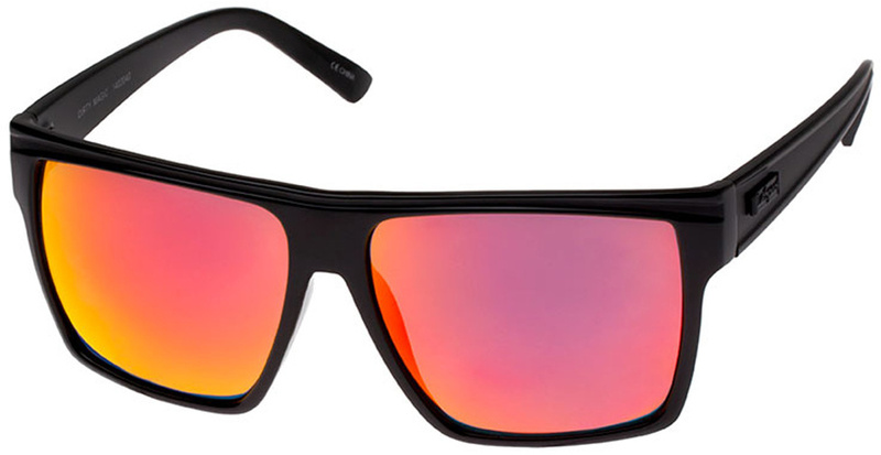 Le Specs Dirty Magic Sunglasses Gloss Black Red Mirror