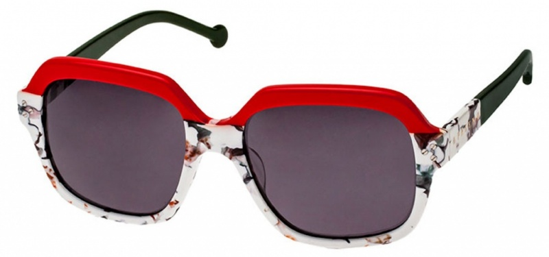 Preen Preston Sunglasses Red Floral Grey
